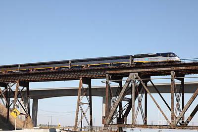 Amtrak Train Riding Atop The Benicia-martinez Train Bridge In California - 5d18839 Poster