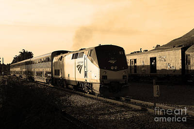 Amtrak Trains At The Niles Canyon Railway In Historic Niles District California . 7d10857 . Sepia Poster