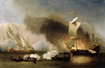 An Action Off The Barbary Coast With Galleys And English Ships Poster