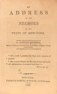 An Address To The Negros In The State Poster by Everett