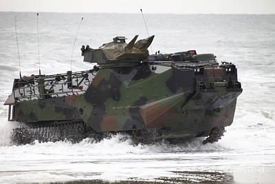 An Amphibious Assault Vehicle Drives Poster by Stocktrek Images