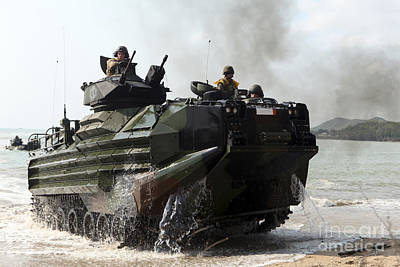An Amphibious Assault Vehicle Hits Poster by Stocktrek Images