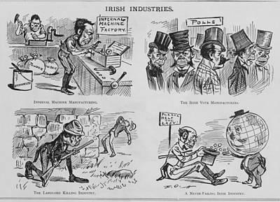 An Anti-irish Cartoon Entitled Irish Poster by Everett