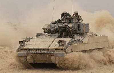 An Army Bradley Fighting Vehicle Kicks Poster by Everett