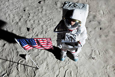 An Astronaut On The Surface Of The Moon Next To An American Flag Poster