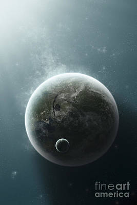 An Earth-like Planet Illuminated Poster by Tomasz Dabrowski