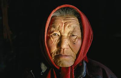An Elderly Kazakh Woman In Western Poster