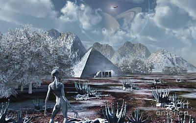 An Extraterrestrial Surveys An Ancient Poster by Mark Stevenson