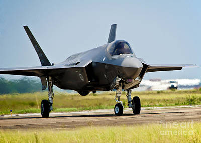 An F-35 Lightning II Taxiing At Eglin Poster
