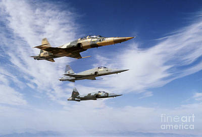An F-5f Tiger II Leads Two F-5es Poster