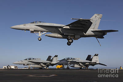 An Fa-18e Super Hornet Comes In For An Poster