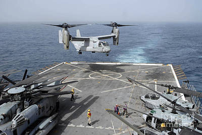 An Mv-22b Osprey Lands Aboard Poster