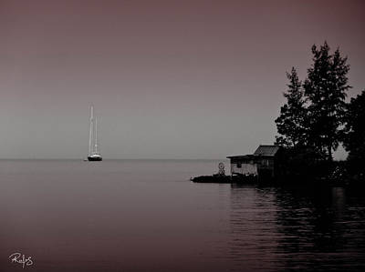 Anchored Near A Temple - Black And White Poster by Allan Rufus