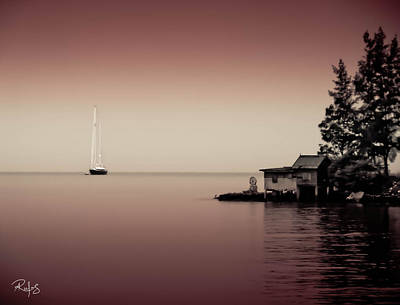Anchored Near A Temple - Tint On Red Poster by Allan Rufus