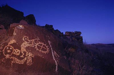 Ancient Rock Art Showing Kokopelli Poster