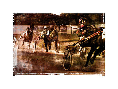 Poster featuring the photograph and the winner is - A vintage processed Menorca trotting race by Pedro Cardona
