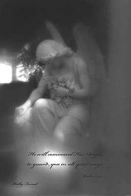Angel Kneeling In Prayer - Inspirational Angel Art Poster by Kathy Fornal