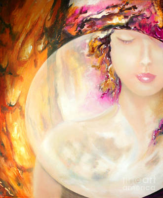 Poster featuring the painting Angel Luna by Michael Rock