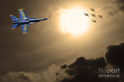 Angels In The Sky . Partial Sepia Poster by Wingsdomain Art and Photography