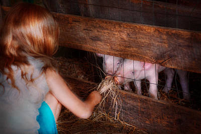 Animal - Pig - Feeding Piglets  Poster by Mike Savad