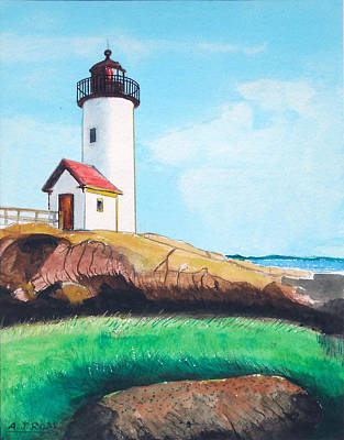Poster featuring the painting Aninisquam Harbor Light by Anthony Ross
