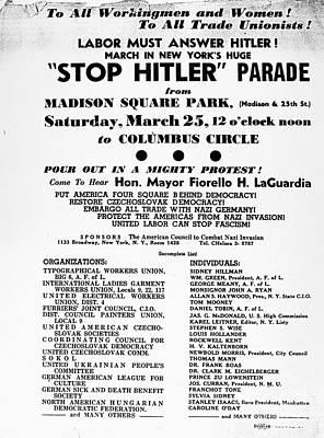 Anti-nazi Protest, 1939 Poster