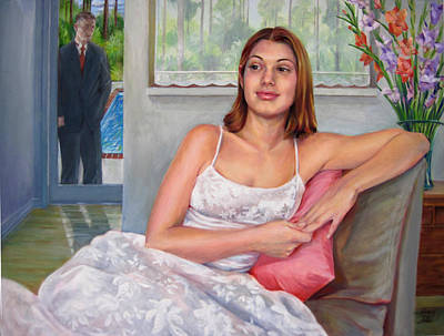 Poster featuring the painting Anticipation - Jasmin Contemplates The Prom by Nancy Tilles