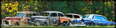 Antique Cars Graveyard Poster