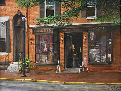 Poster featuring the painting Antique Shop Greenwich Vlg by Stuart B Yaeger