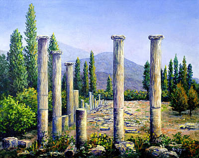 Poster featuring the painting Aphrodesias Ruins by Lou Ann Bagnall
