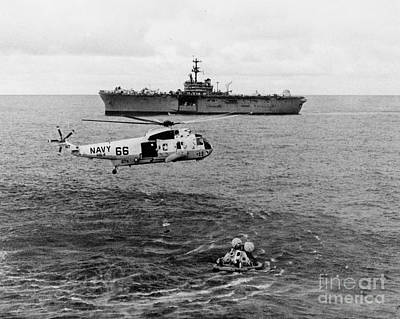 Apollo 13 Recovery Swimmers Poster by Nasa