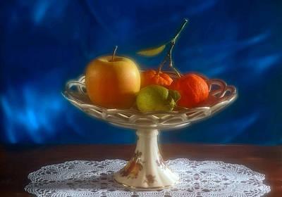 Apple Lemon And Mandarins. Valencia. Spain Poster by Juan Carlos Ferro Duque