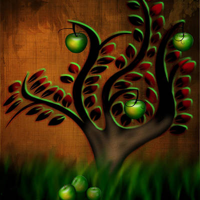 Poster featuring the digital art Apple Tree by Katy Breen