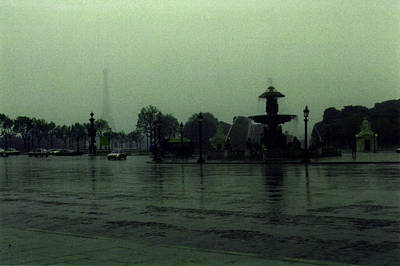Poster featuring the photograph April Fog With Water Fountain by Louis Nugent