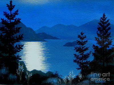 April  Full  Moon - - Fine Art Impressionist Serenity Landscape Poster by Shasta Eone