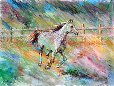 Poster featuring the painting Arabian Dream Horse by Nancy Tilles