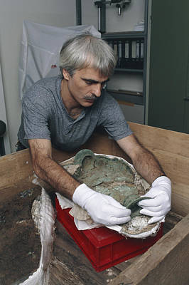 Archaeologist Reconstructing A Bronze Celtic Pot Poster