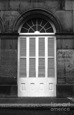 Arched White Shuttered Window French Quarter New Orleans Black And White Diffuse Glow Digital Art  Poster