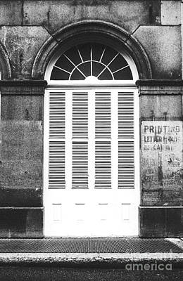 Arched White Shuttered Window French Quarter New Orleans Black And White Film Grain Digital Art  Poster