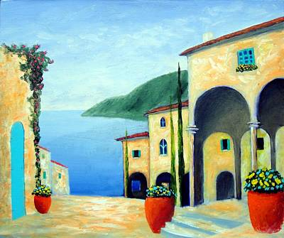 Poster featuring the painting Arches On The Riviera by Larry Cirigliano