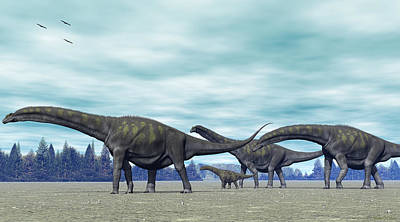 Poster featuring the digital art Argentinosaurus by Walter Colvin