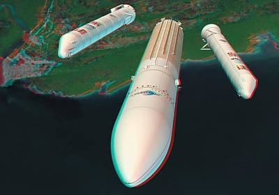 Ariane 5 Rocket Launch, Stereo Image Poster by David Ducros