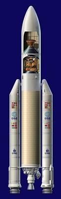 Ariane 5 Rocket With Ard, Artwork Poster by David Ducros