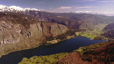 Poster featuring the photograph Ariel View Of Lake Bohinj Slovenia by Graham Hawcroft pixsellpix