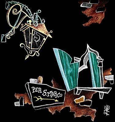 Art Night Illustration San Marco Venice Italy - Arte Notte Illustrazione Venezia Italia Poster