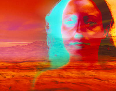 Artwork Of Depressed Woman With A Barren Landscape Poster