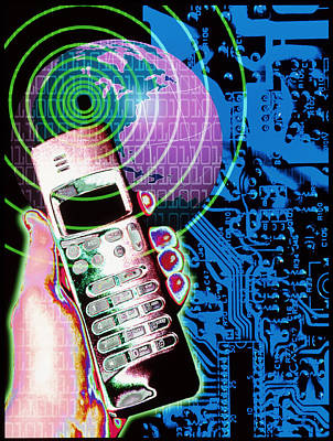 Artwork Of Mobile Telephone, Globe & Circuit Board Poster by Victor Habbick Visions