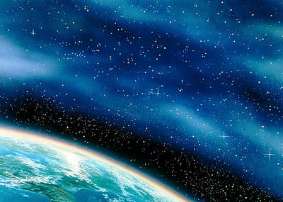 Artwork Of Part Of The Earth Against A Starfield Poster by David Ducros