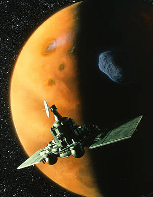 Artwork Of Phobos Spacecraft In Orbit Around Mars Poster by Julian Baum