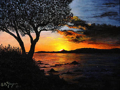 Poster featuring the painting Aruba Sunset by Stuart B Yaeger